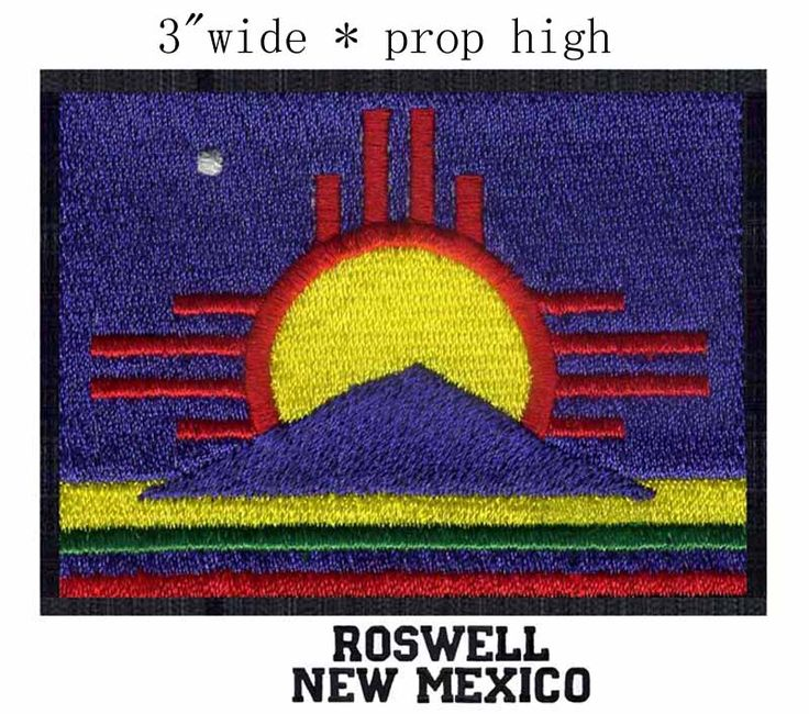 """Roswell, New Mexico USA Flag 3.0"""" wide embroidery patch  for applique/mountains/the Sun #Affiliate"""