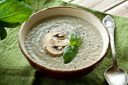 Грибной крем-суп с базиликом | Диетические низкокалорийные рецепты - блюда правильного питания на Dietplan.ru