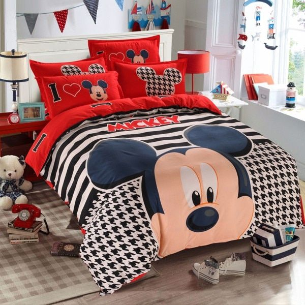 Online Shop Disney Red Mickey Mouse Duvet Cover Set 3 Or 4 Pieces Striped Double Size Bedding Set For Children Be Kids Bedding Sets Bedding Set Pillow Case Bed