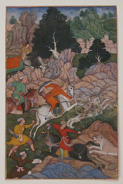 """Akbar Hunting,"" folio from an Akbarnama (History of Akbar) - ""Akbar Hunting,"" folio from an Akbarnama (History of Akbar) Object Name: Folio from an illustrated manuscript Date: late 16th century Geography: present-day Pakistan, probably Lahore Culture: Islamic Medium: Opaque watercolor, ink, and gold on paper Dimensions: Painting: 7 1/2 x 4 7/8 in. (19.1 x 12.4 cm)"