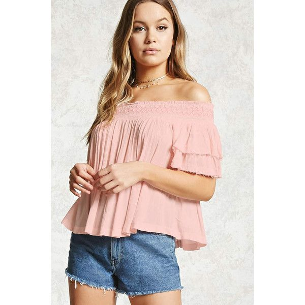 Forever21 Smocked Off-the-Shoulder Top (140 SEK) ❤ liked on Polyvore featuring tops, blouses, light pink, short sleeve tops, off shoulder blouse, off the shoulder tops, pink top and cut out sleeve top