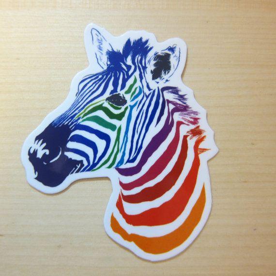 Regenbogen Zebra klar, Aufkleber, klare 100 % wasserdicht Vinylfolie, Popkultur klar Aufkleber