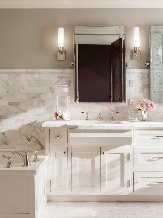 Photo Album Website Calacatta Borghini Traditional bathroom Benjamin Moore Revere Pewter ScavulloDesign Interiors