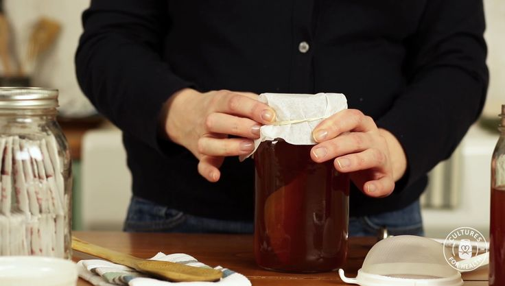 HOW-TO VIDEO: HOW TO MAKE KOMBUCHA TEA Cover the jar with a tight-weave towel or coffee filter and secure with a rubber band.
