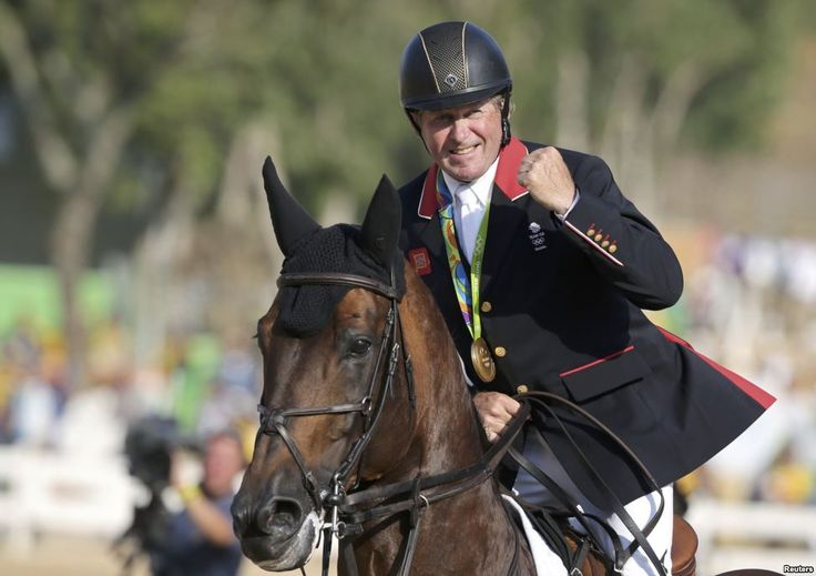 58-year-old Nick Skelton from Great Britain celebrates his Olympic Gold in equestrian - Rio de Janeiro