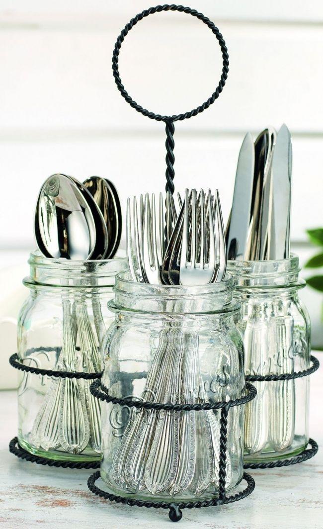 16 Ideas Para Reutilizar Frascos De Vidrio En Todo Tu Hogar Frasco De Vidrio Reutilizar Frascos Organizador De Cubiertos