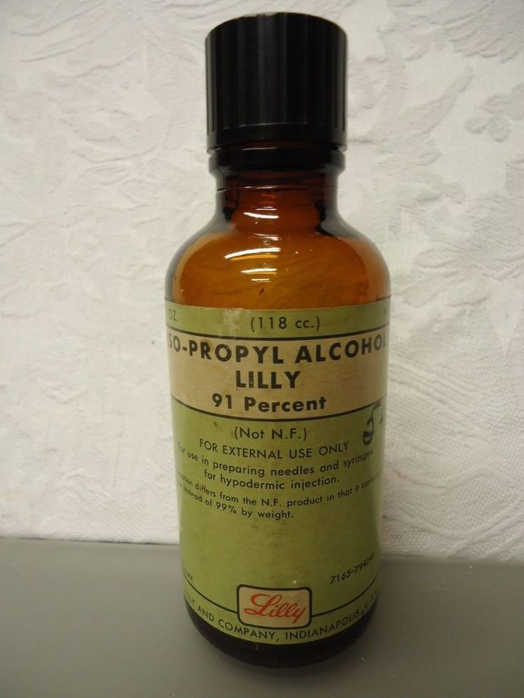 Iso-Propyl Alcohol Lilly Co. 91% Empty Vintage medicine Bottle