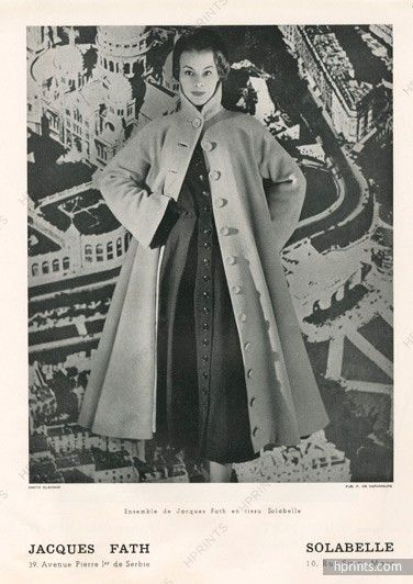 Jacques Fath 1948 Coat, Lainage, Solabelle (Fabric) , Photo Edgar Elshoud