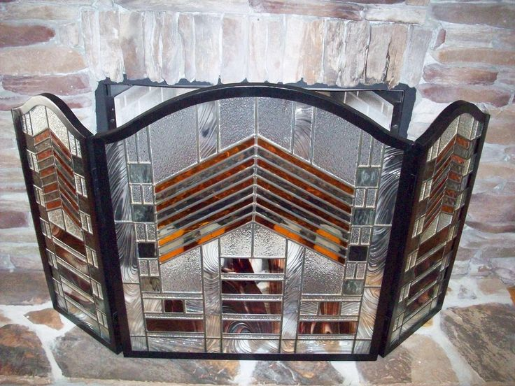 Mission style fireplace screen by genekelly delphi for Prairie style fireplace