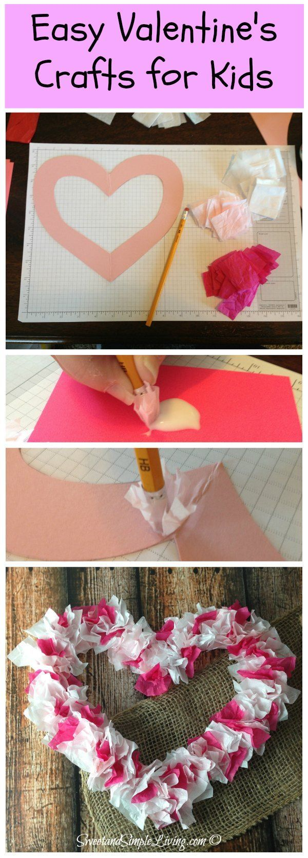 DIY Valentines Crafts for Kids - Cute and Easy Paper Decorations. We just love this heart  made with tissue paper