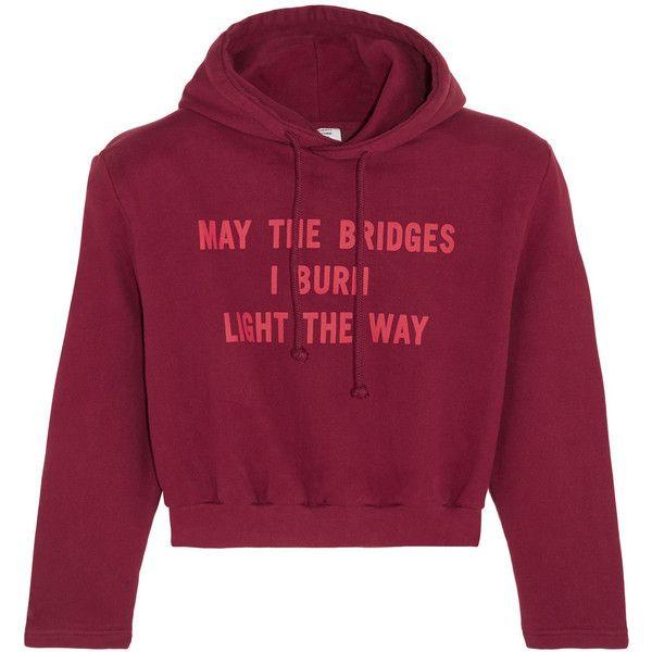 Vetements Printed cotton-blend jersey hooded top found on Polyvore featuring tops, hoodies, sweaters, sweatshirt, merlot, burgundy hoodies, polka dot crop top, polka dot top, burgundy crop top and purple top