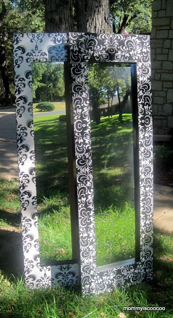 black and white damask mirror