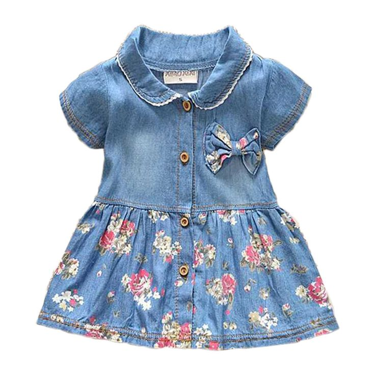 New Spring Autumn Denim Baby Girls Dress Floral Bow Infant Princess Dress Casual Short Sleeve Kids Jeans Dress Baby Girl Clothes