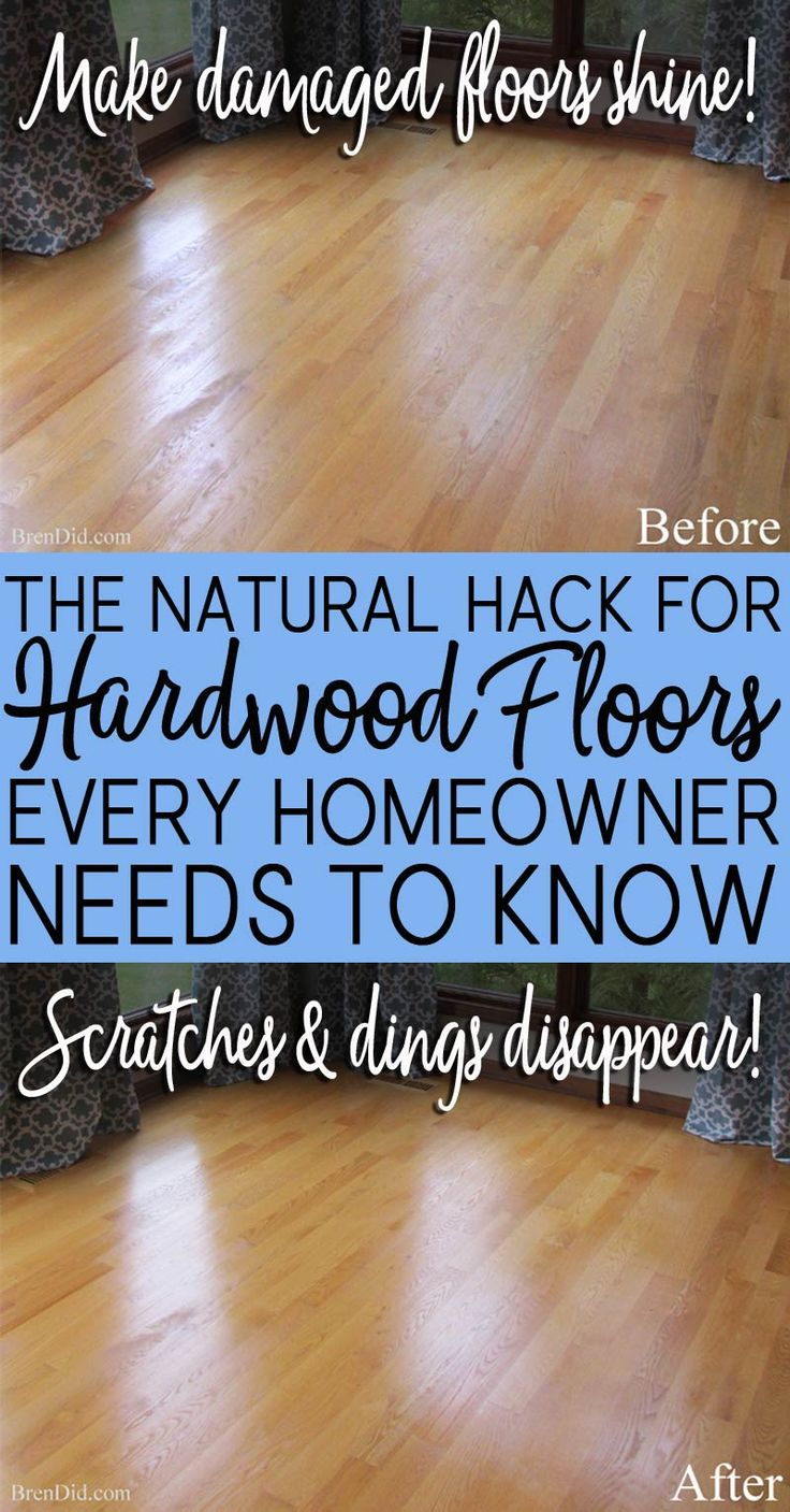 DIY all natural hardwood floor restorer makes floors shine like new and eliminates scratches & scuffs. Non-toxic, DIY cleaner safe for kids & pets. #greencleaning #allnatural #nontoxic
