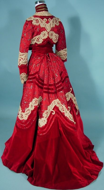 c. 1902 Trained Afternoon 2-piece Gown of Cherry Red Brocade, Ruby Red Velvet and White Lace Trim by Dressmaker M.A. Tansley, Springfield, Massachusettes | Antique Dress