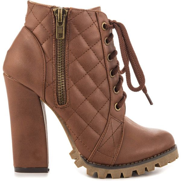 Michael Antonio Women's Valley - Whiskey PU ($65) ❤ liked on Polyvore featuring shoes, boots, brown, lace up high heel boots, lace up boots, lug sole boots, high heel shoes and brown boots