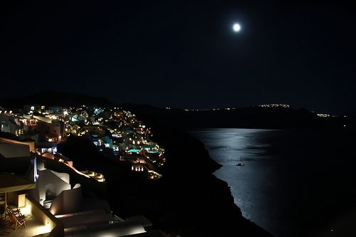 Santorini by the Full Moon of August