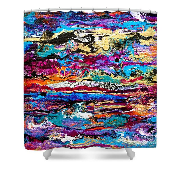 """#521  Bright Swipe Shower Curtain by Expressionistart studio Priscilla Batzell.  This shower curtain is made from 100% polyester fabric and includes 12 holes at the top of the curtain for simple hanging.  The total dimensions of the shower curtain are 71"""" wide x 74"""" tall."""