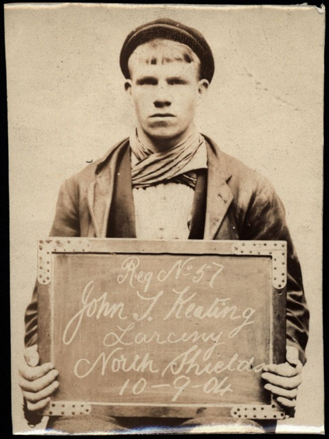 "https://flic.kr/p/B2233e | John T. Keating, arrested for stealing sash weights | Name: John T. Keating Arrested for: Larceny Arrested at: North Shields Police Station Arrested on: 10th September 1904 Tyne and Wear Archives ref: DX1388-1-57-John T Keating  For an image of his accomplice Charles Johnson see www.flickr.com/photos/twm_news/6628453871/in/album-721576....   The Shields Daily News for 10 September 1904 reports:  ""NORTH SHIELDS YOUTHS SENT TO PRISON.  At North Shields Police Co..."