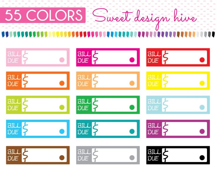 Bill due Clipart, rainbow colors, Bills Reminder clipart, pay bills, Bill due stickers, Planner Stickers, Commercial Use, PL0018 by Sweetdesignhive on Etsy