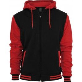 URBAN CLASSICS BLACK AND RED HOODY Free Shipping