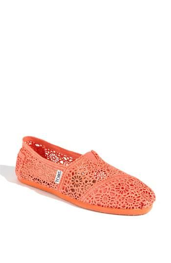 Slip on a pair of colorful crocheted Toms.