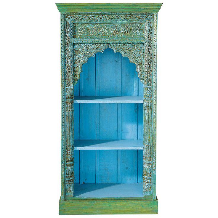 Indisches Bücherregal aus massivem Mangoholz, B 84cm, grün Madras