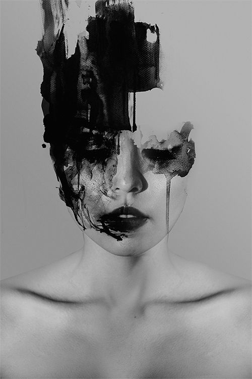 This image show a girl who is perhaps bleeding and is incomplete where her skull should be. There is no brain which suggests mental disorders. The image is in black and white with no colour which suggests life being quite dull and unexciting. This links to my theme of humans and their behaviours as well as mental disorders.