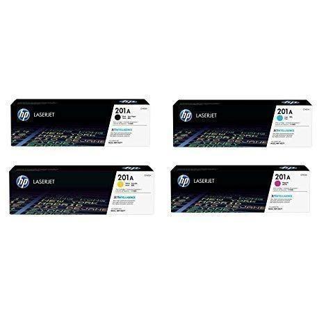 HP 201A BCYM Original LaserJet Toner Cartridge Set - Black, Cyan, Yellow, Magenta (CF400A, CF401A, CF402A, CF403A) - Retail Packaging