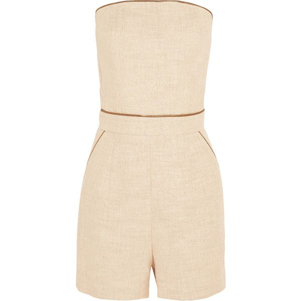Tamara Mellon Cotton-blend canvas playsuit (1,045 SAR) ❤ liked on Polyvore featuring jumpsuits, rompers, beige, pink romper, pink rompers, playsuit romper and tamara mellon