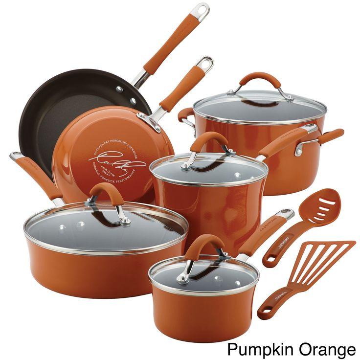 Rachael Ray Cucina Hard Enamel Nonstick 12-piece Cookware Set | Overstock.com Shopping - The Best Deals on Cookware Sets