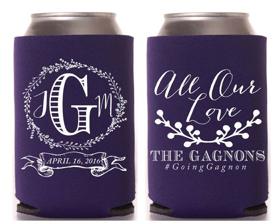 All Our Love Wedding Favors  Anniversary Favors Southern Wedding Gifts Monogrammed Wedding Favors Custom Can Coolers Rustic 1102 by SipHipHooray