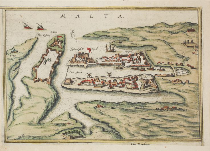 """Sept. 21. #MaltaMapMonday. A new addition this week comes from the 16th century, being a hand-colored engraving printed by Georg Braun and Frans Hogenberg, """"Malta"""" in Civitates orbis terrarium, vol. 1. Cologne: [s.n.], 1597. The map shows the early construction of Valletta, built as a response to the Great Siege of 1565. Note the chain across the harbor!"""