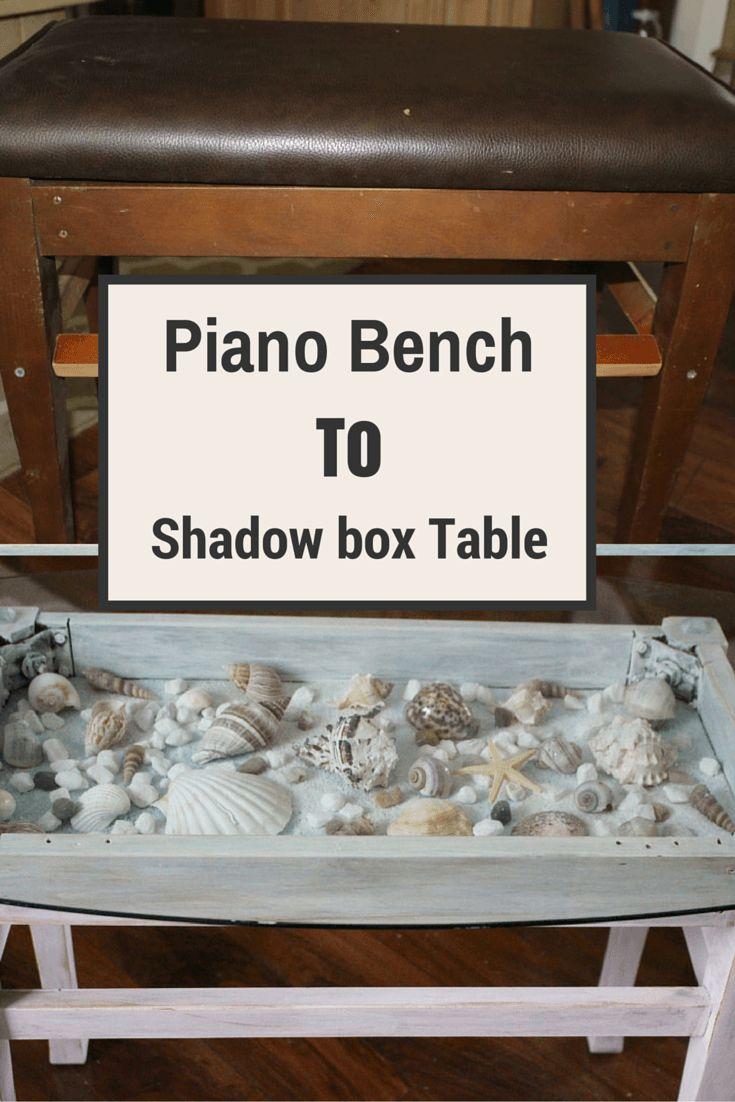 Sea Shell Shadow Box Table - Our Crafty Mom #coastaldecor #seashell #shadowboxtable