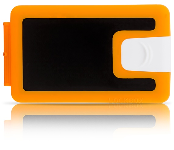 Hey mate, this RHYTHM LB0087, has power  and an orange silouette that stands out - black, orange and white silicone wallet Lockbox - $39.90 - We are shipping worldwide!