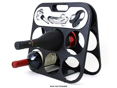 Wine lovers will adore the Chefs Basics Select Portable Wine Rack! It comes fully loaded with a foil cutter, corkscrew, and bottle stopper, and folds up neatly for convenient storage and easy transport!