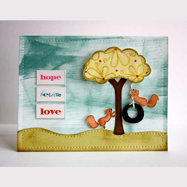 card with critters in the 'burbs | Lawn Fawn squirrels squirrel tree play fun