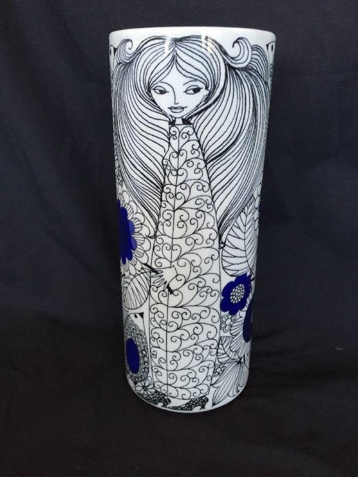 "Arabia Finland Vase Pastoraali 8.5"" Esteri Tomula Mid Century 1960s Blue Black #ArabiaofFinland"