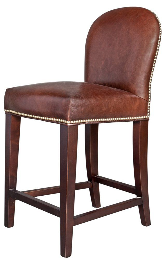 Piedmont Leather Counter Stool, Brown