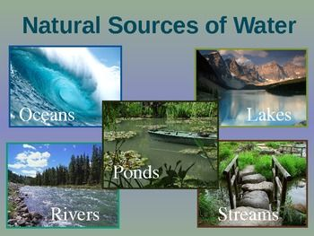 "This PowerPoint was used during our unit, ""Natural Sources of Water,"" and includes information about oceans, lakes, ponds, rivers, and streams."