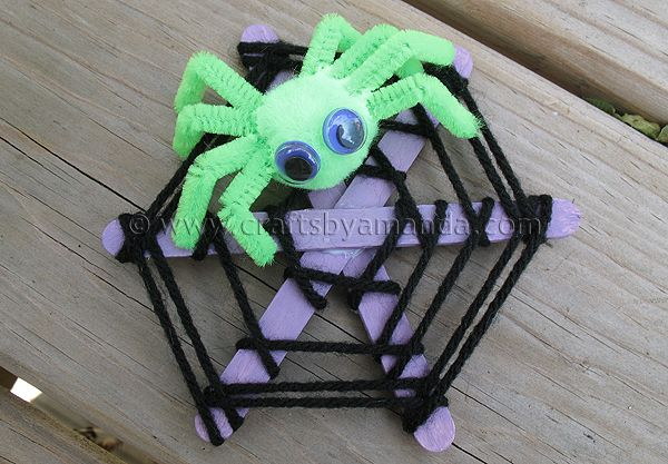 Craft Stick Spider Web --may be too hard for my day campers, but might work for camper's choice