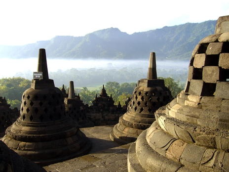 Borobudur Temple Compounds: http://whc.unesco.org/en/list/592#    Buddhist monument in Kedu Valley, Central Java, Indonesia.