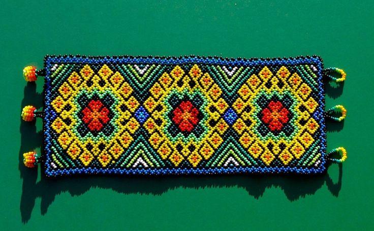 "Contemporary Jewelry - ""Huichol Bracelet - Peyote Portals & Vine of Life"" (Original Art from Harmonia de Luz (Harmony of Light) Shipibo Art, Shipibo textiles, Huichol art, ayahuasca art, world )"