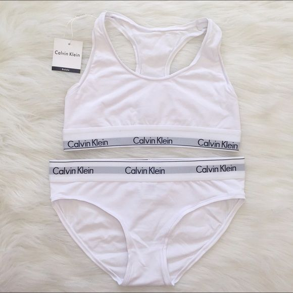 white Calvin Klein sports bra and underwear set •matching white underwear and sports bra Calvin Klein set  •tag says large but fits like a medium. I can give measurements if needed.   •RECOMMENDED SIZES: 32A-32C.    •HAVE A LOT MORE IN MY CLOSET   •new without tags, never used  •retails for $48 plus shipping ($55+)  ❗️ if the item does not fit you CANNOT return it - poshmark policy Calvin Klein Intimates & Sleepwear Bras
