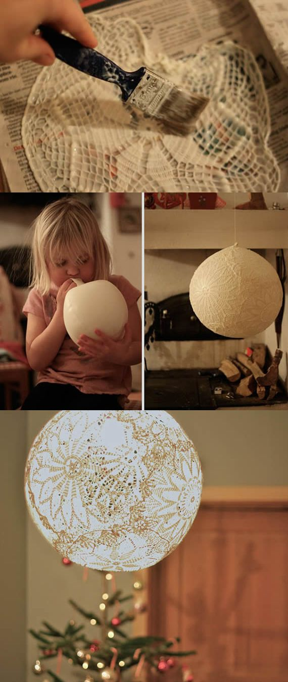 DIY hanging lamp made with doilies, mod podge and a balloon