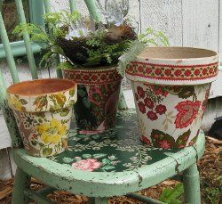 Wallpaper Decoupage Flower Pots- great idea! I'm always looking to dress up boring pots!!