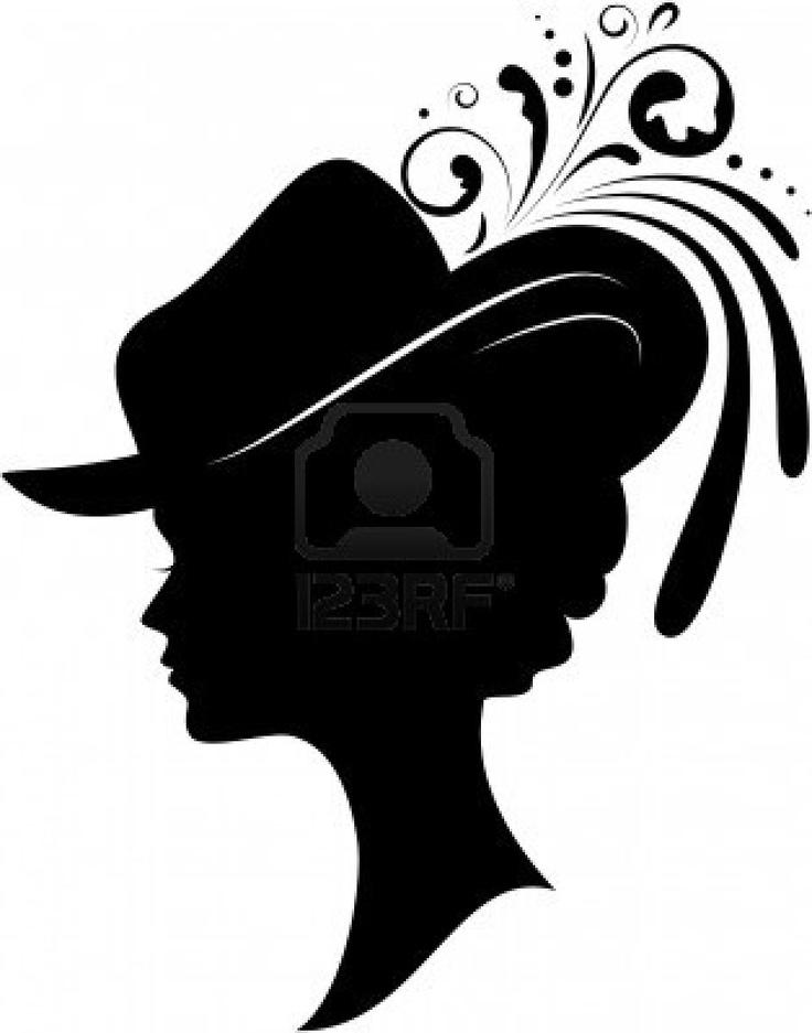 Silhouette der jungen Frau in einem Hut auf weißem Hintergrund Stockfoto - 6069093