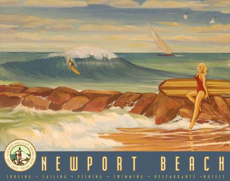 Newport Beach Breakwater: Sharp Vintage, Time, Retro Surfing, Calif Iv Newport, Art Order, Cali Iv Newport Beaches Cdm, Travel Posters, Posters Retro, Beaches Style