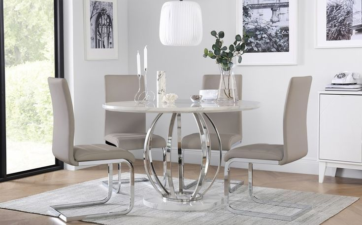 Savoy Round White Marble And Chrome Dining Table Chairs Choice