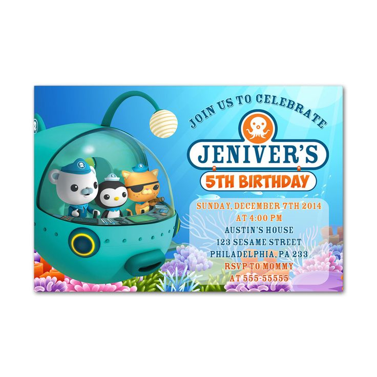 Octonauts Kids Birthday Invitation Party Design